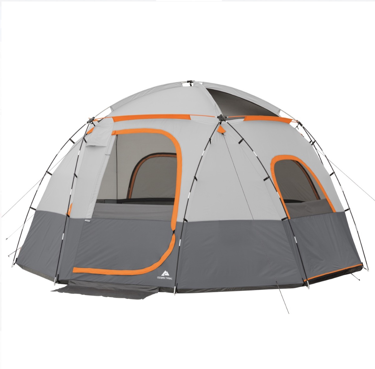 gray and white rounded top tent