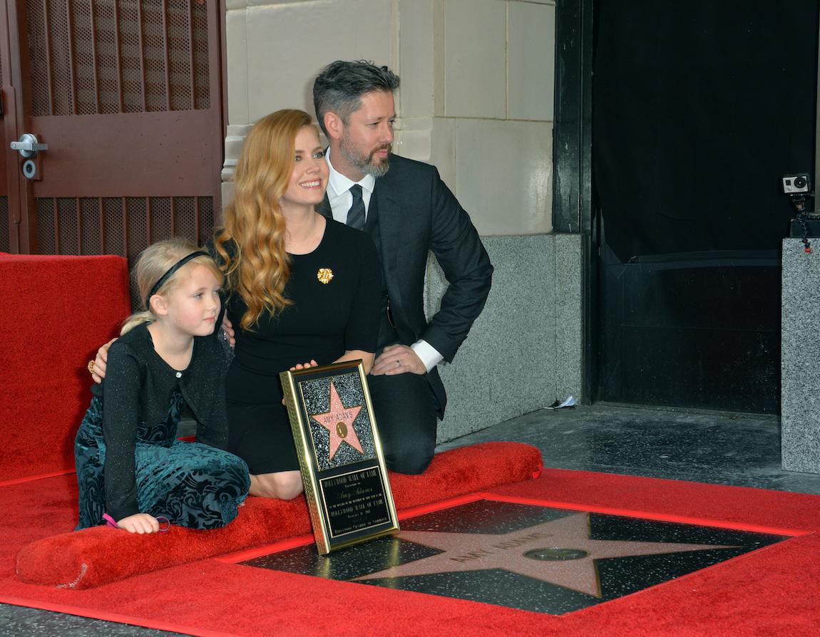 Amy Adams, Darren Le Gallo, and Aviana Le Gallo at Adam's Hollywood Walk of Fame ceremony in 2017
