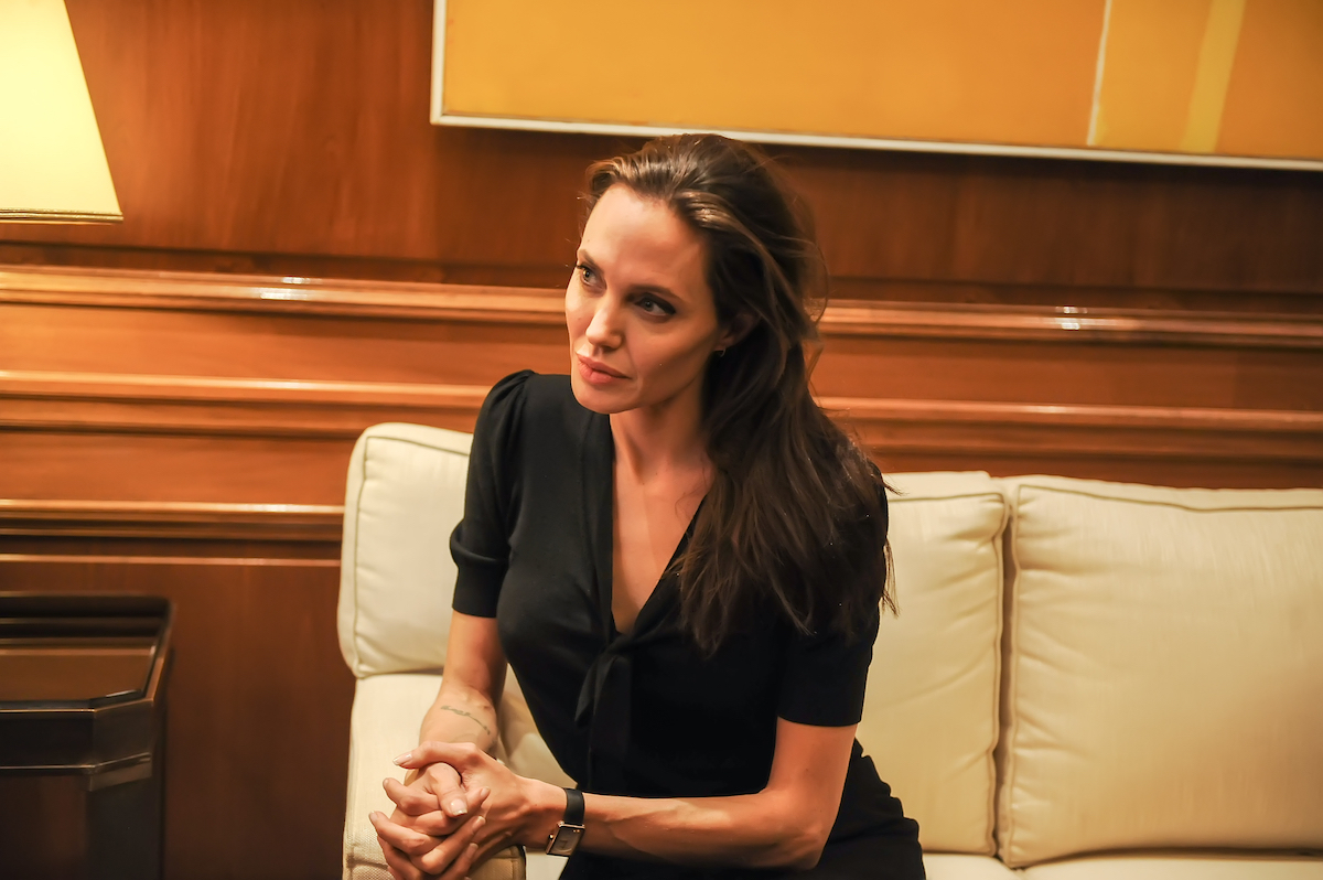 Angelina Jolie during a meeting with Greek Prime Minister Alexis Tsipras in her role as Special envoy of the United Nations High Commissioner for Refugees