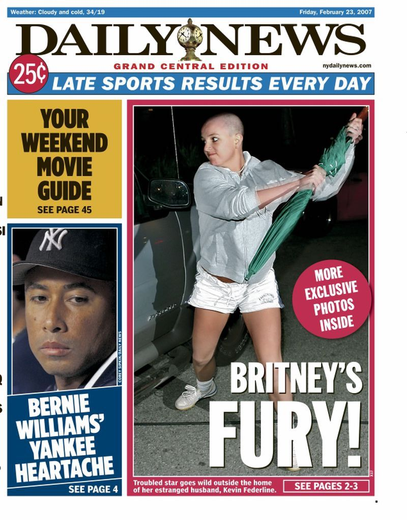 Britney Spears on cover of New York Daily News after shaving her head