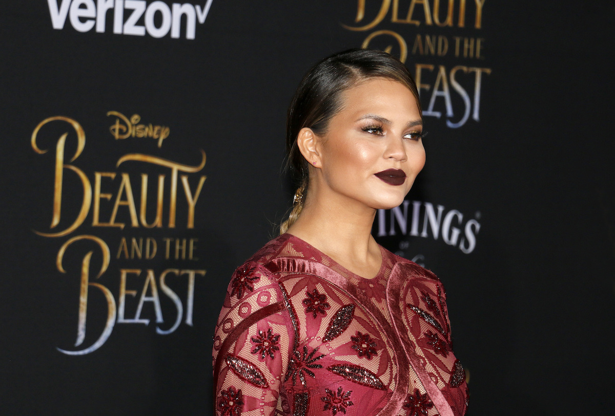 """Chrissy Teigen at the premiere of """"Beauty and the Beast"""" in 2017"""