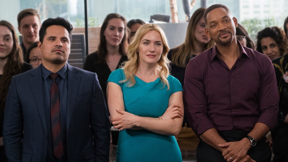 Michael Pena, Kate Winslet, and Will Smith in Collateral Beauty