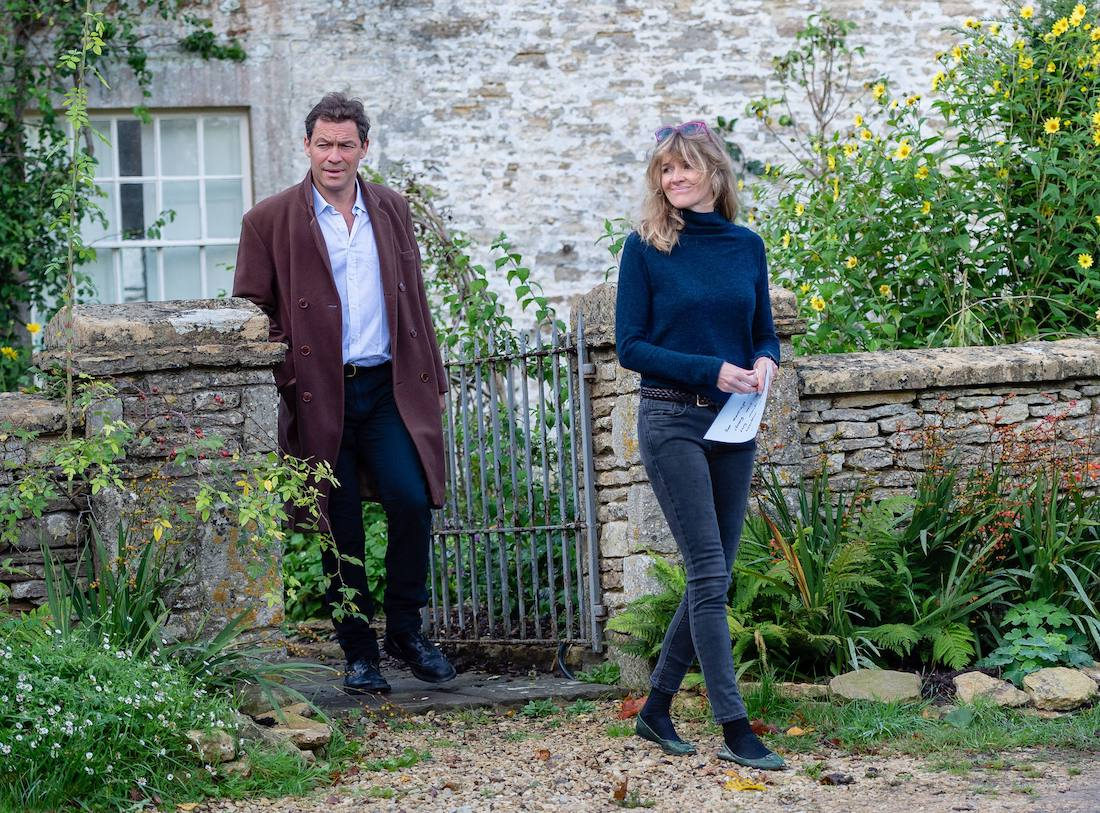 Dominic West and Catherine FitzGerald outside of their home in October 2020