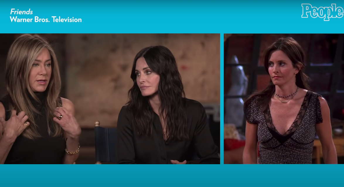 """Jennifer Aniston and Courtney Cox being interviewed by """"People"""""""