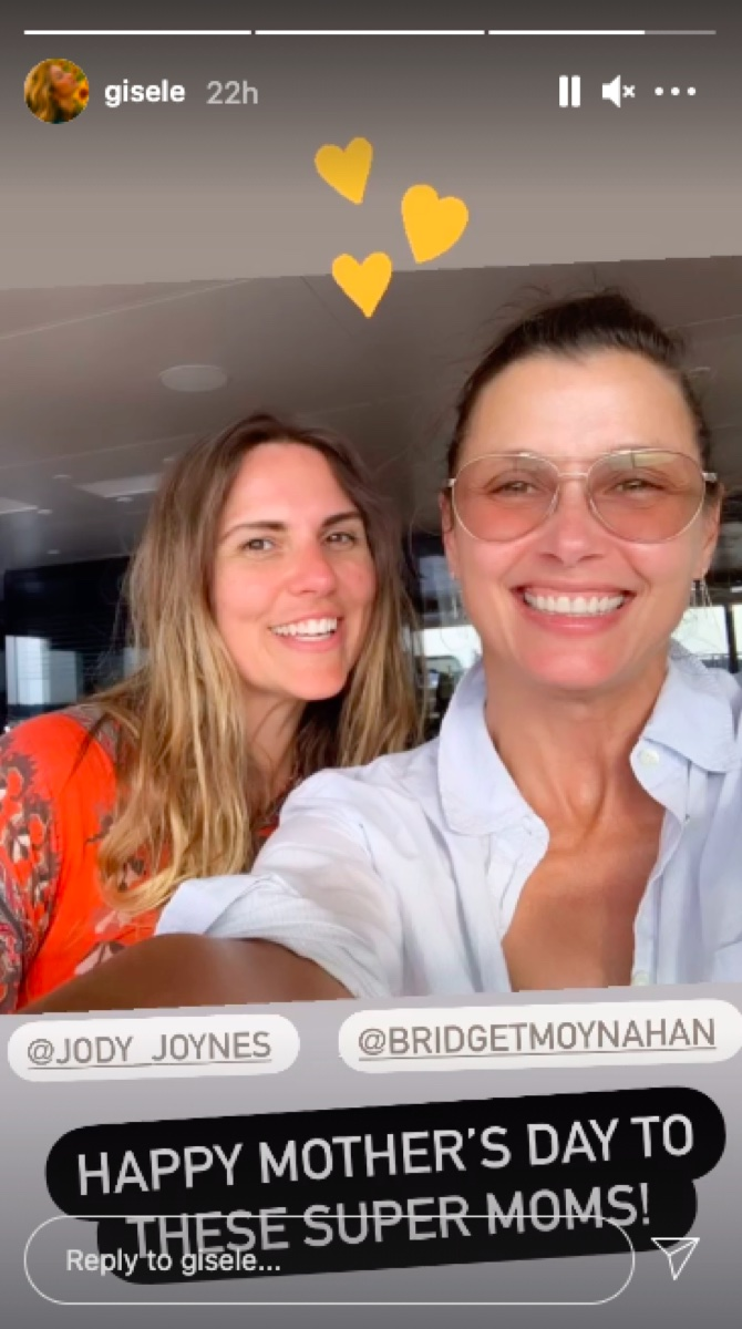 Jody Joynes and Bridget Moynahan on Gisele Bundchen's Instagram