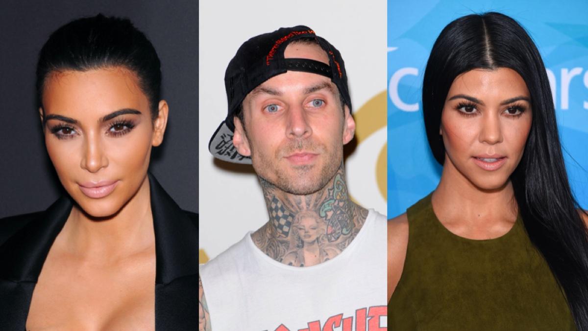 Kim Kardashian, Travis Barker, and Kourtney Kardashian
