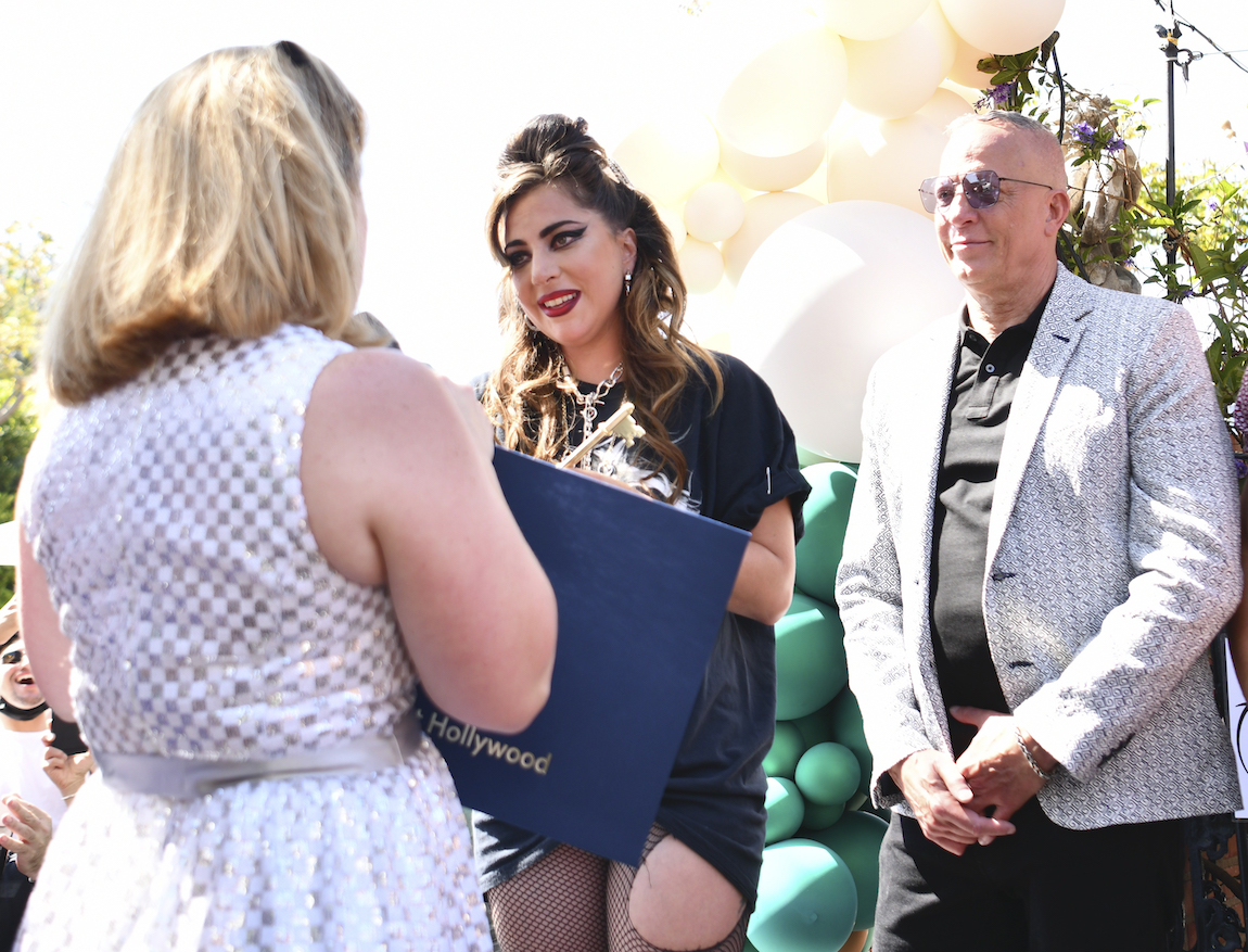 Lady Gaga receiving the key to West Hollywood from Mayor Lindsey P. Horvath on May 23, 2021