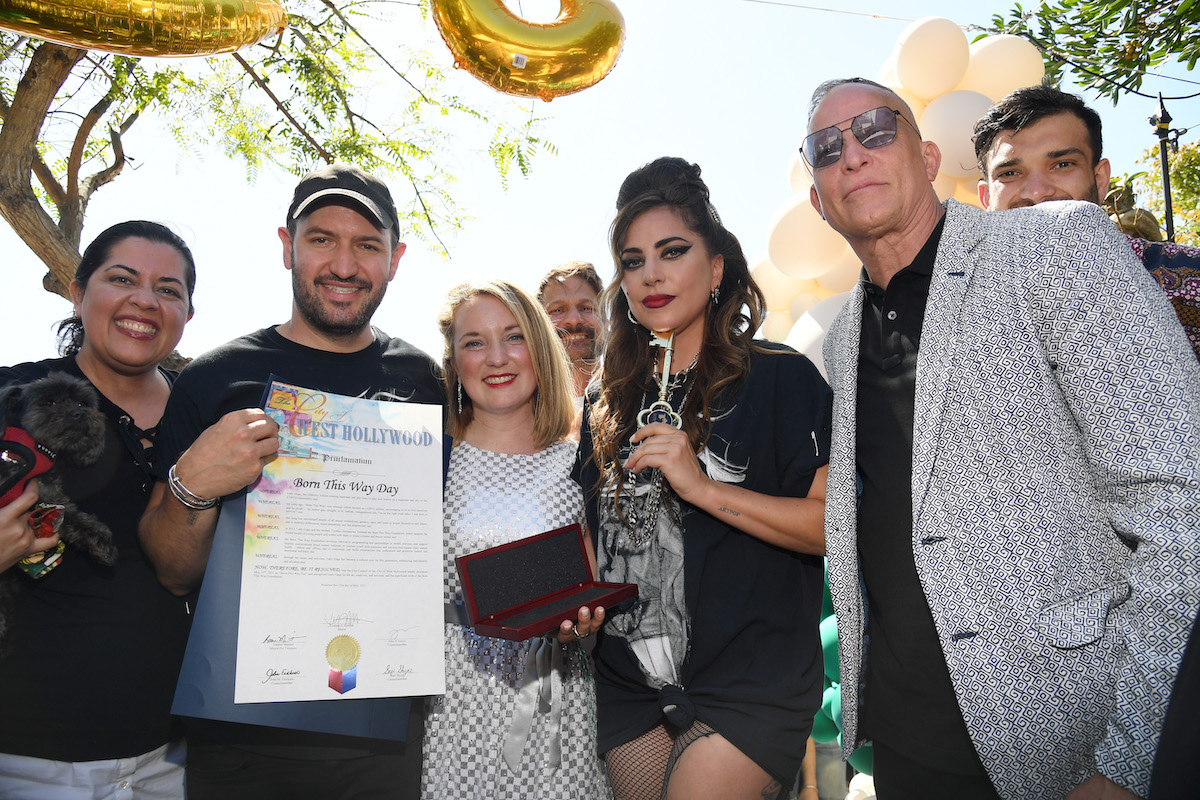 Lady Gaga receiving the key to West Hollywood on May 23, 2021