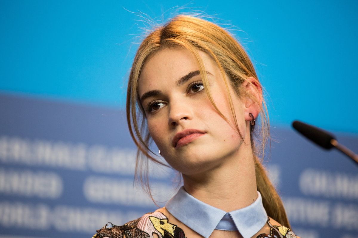 Lily James at a press conference at the Berlin International Film Festival in 2015