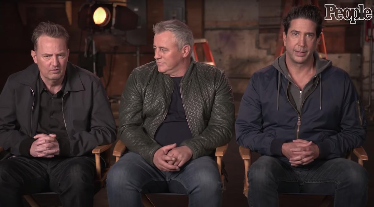 "Matthew Perry, Matt LeBlanc, and David Schwimmer being interviewed by ""People"""