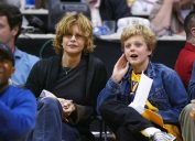 Meg Ryan and Jack Quaid at a Los Angeles Lakers game in 2004