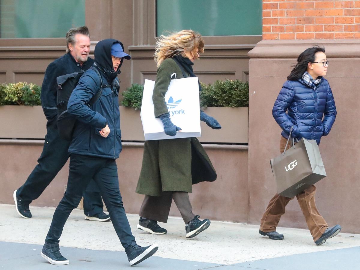 Meg Ryan John Mellencamp Daisy Ryan walking in NYC