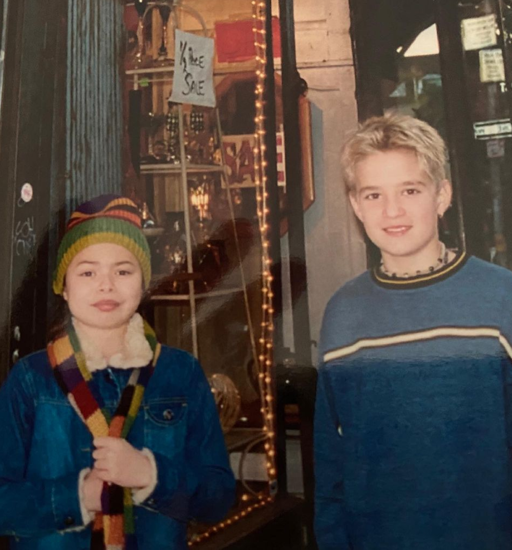 An old photo of Miranda Cosgrove and Kevin Clark when they were kids