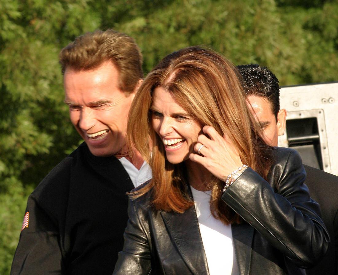 Arnold Schwarzenegger and Maria Shriver at the CA Comeback Express Bus Tour in Pleasanton, CA in 2003
