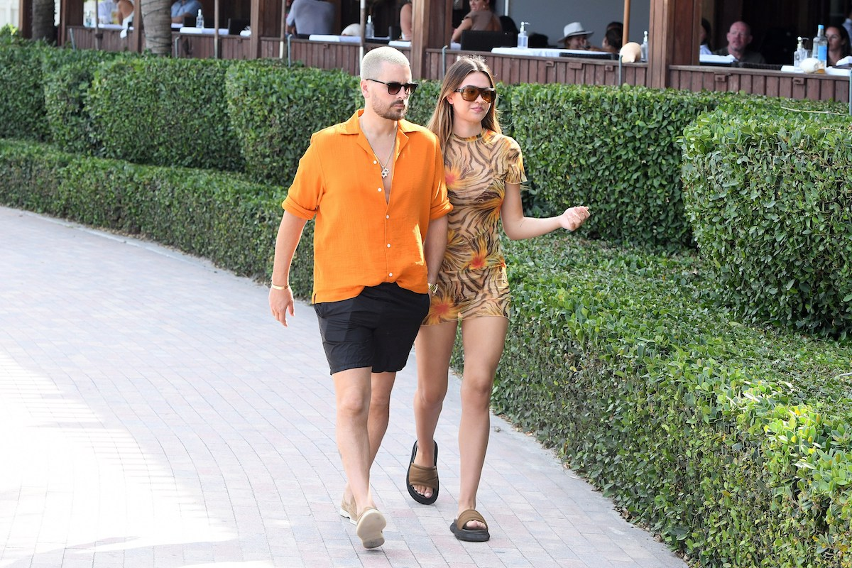 Scott Disick and Amelia Hamlin in Miami, Florida in April 2021