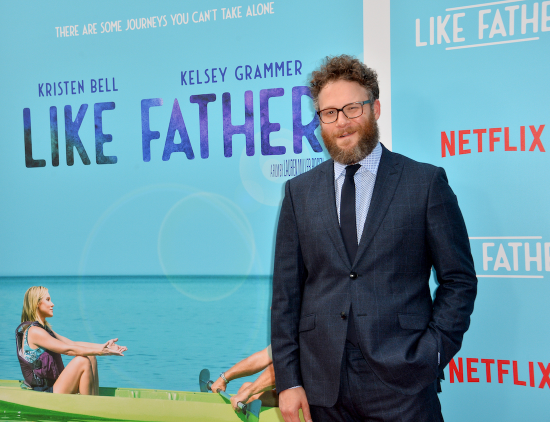 """Seth Rogen at the premiere of """"Like Father"""" in 2018"""