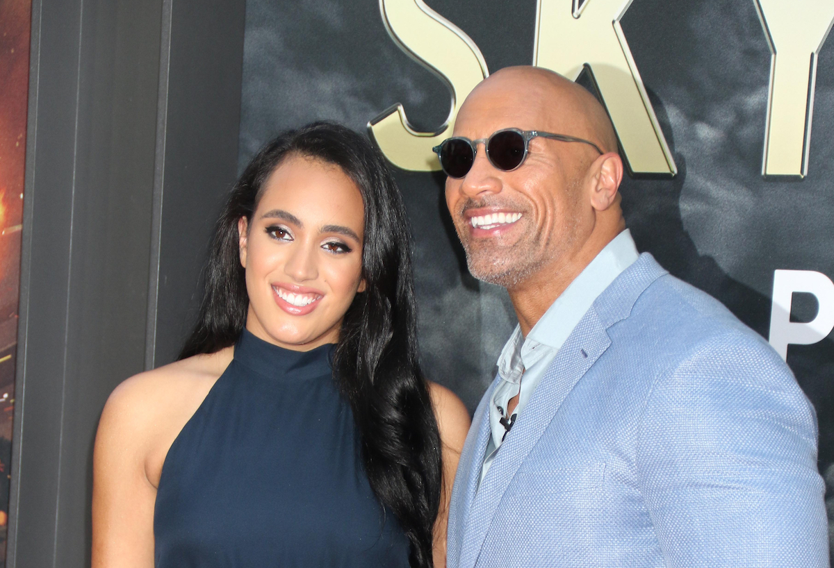 """Simone and Dwayne Johnson at the premiere of """"Skyscrapper"""" in 2018"""