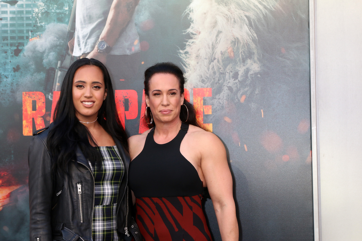 """Simone Johnson and Dany Garcia at the premiere of """"Rampage"""" in 2018"""