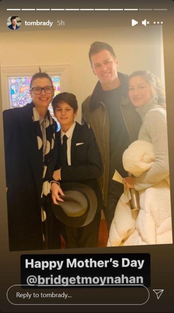 Bridget Moynahan, Jack, Tom Brady, and Gisele Bundchen on Instagram