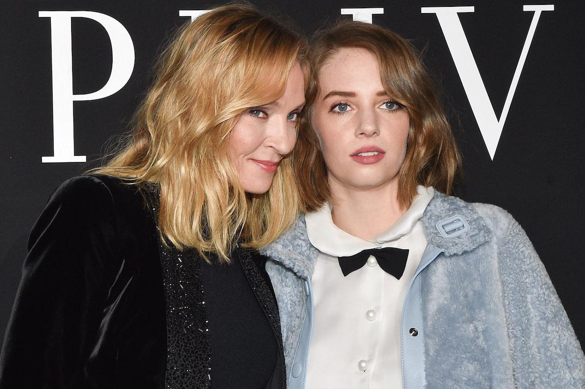 Uma Thurman and Maya Hawke at the Armani Prive Haute Couture show in January 2019
