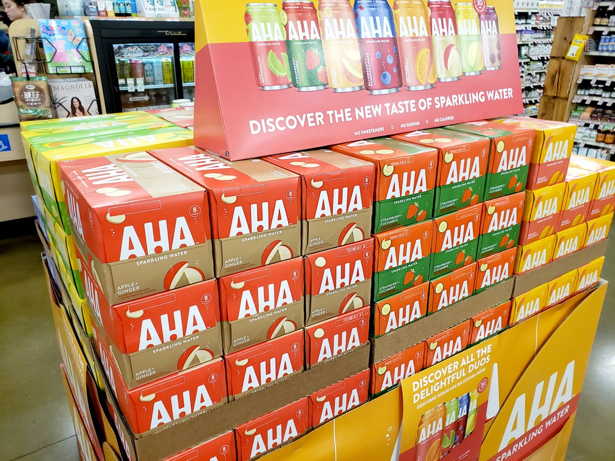 Temecula, California/United States - 03/16/2020: A view of several cases of AHA sparkling water, on display at a local grocery store.
