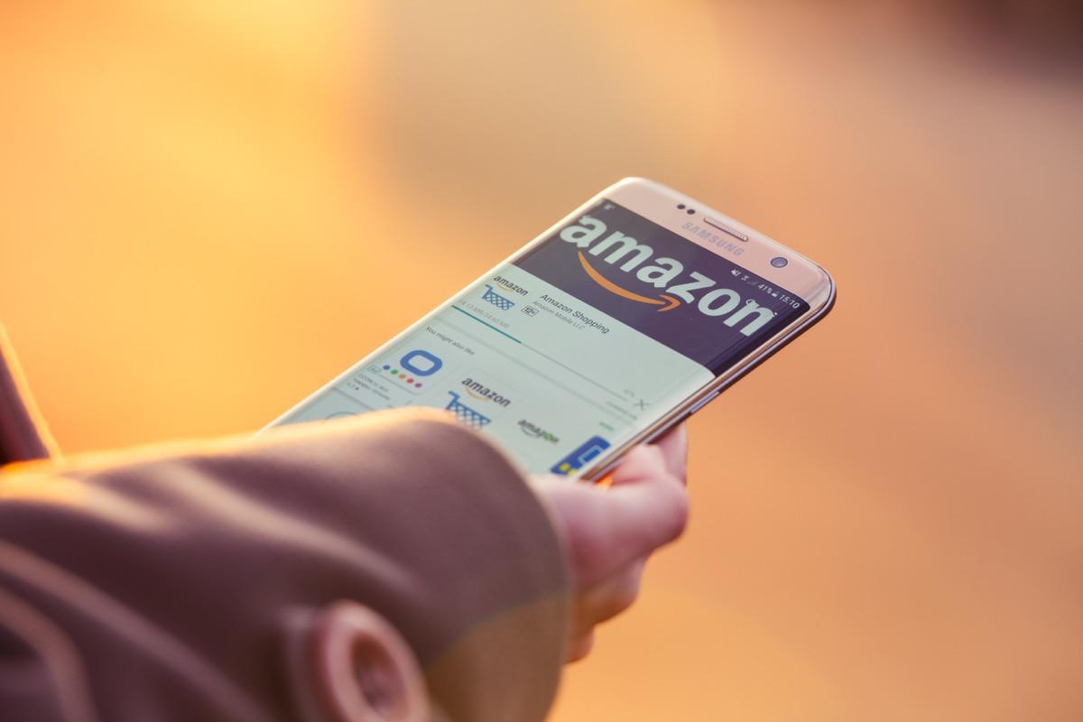 2018.04.23 Kazan Russia - Amazon app on Samsung Galaxy S7 Edge phone screen.