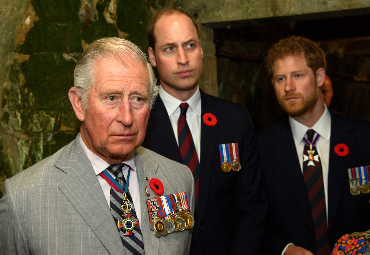Prince Charles, Prince of Wales, Prince William, Duke of Cambridge and Prince Harry tour a tunnel made during WWI during the commemorations for the 100th anniversary of the battle of Vimy Ridge on April 9, 2017 in Lille, France.