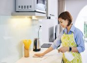 spaying cleaning deterent on surface of kitchen counter and wiping it with soft cloth