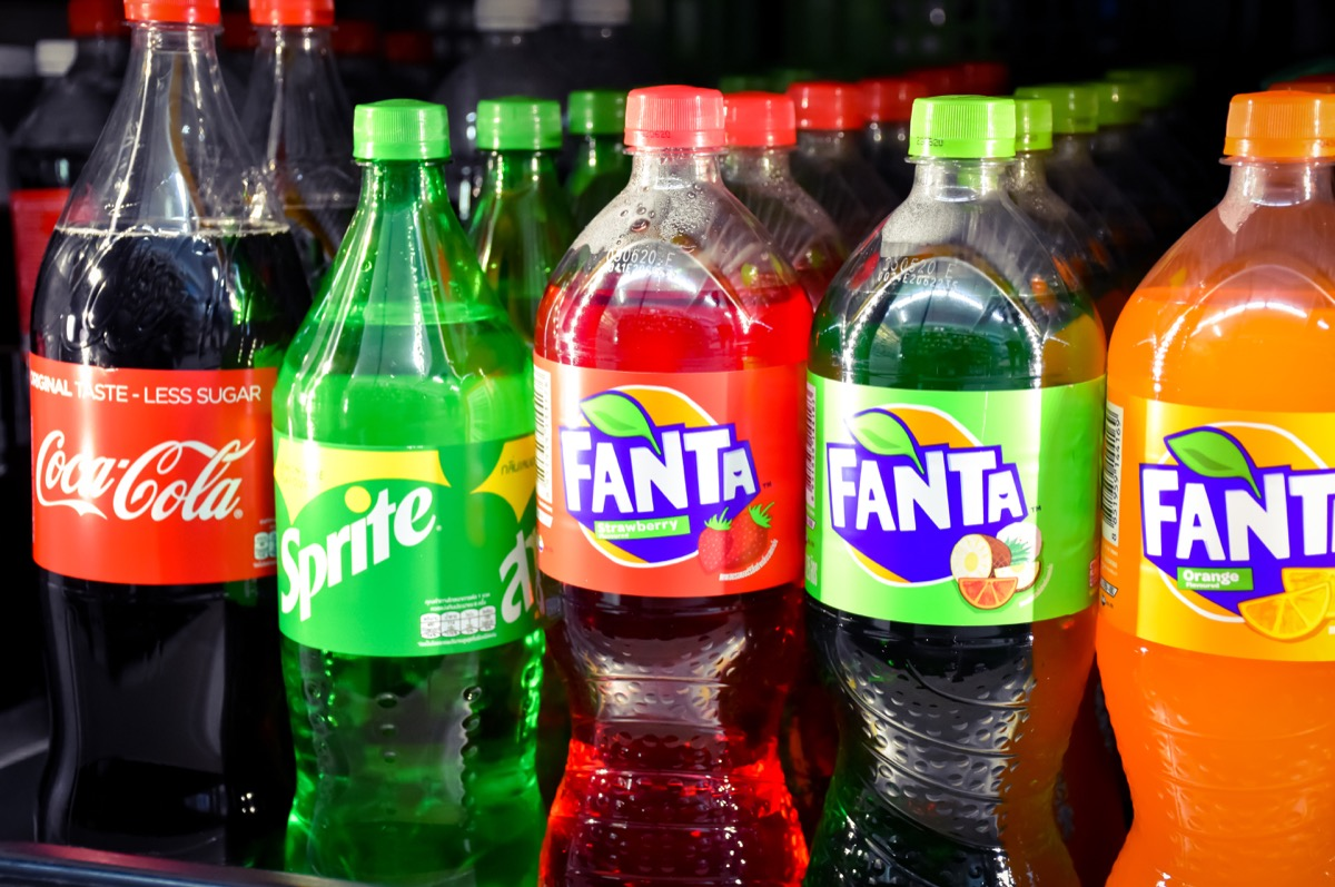 Lopburi-Thailand,19/03/2020:Popular Soft Drink Coke - Fanta - Sprite in a bottle showing shelves in the 7-11stores, Coca-Cola or Coke.Is an carbonated beverage produced by the Coca-Cola Company.