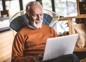 Older man on computer