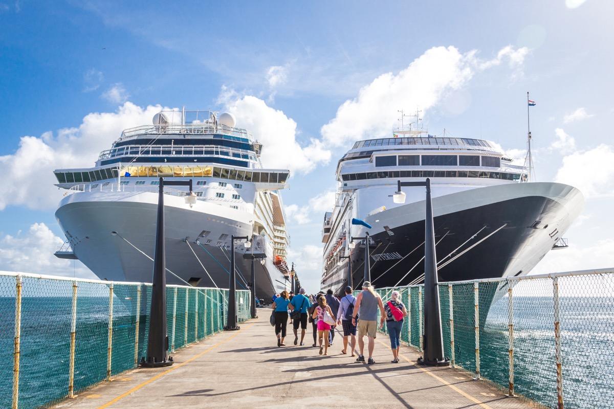 cruise passengers walking to ship