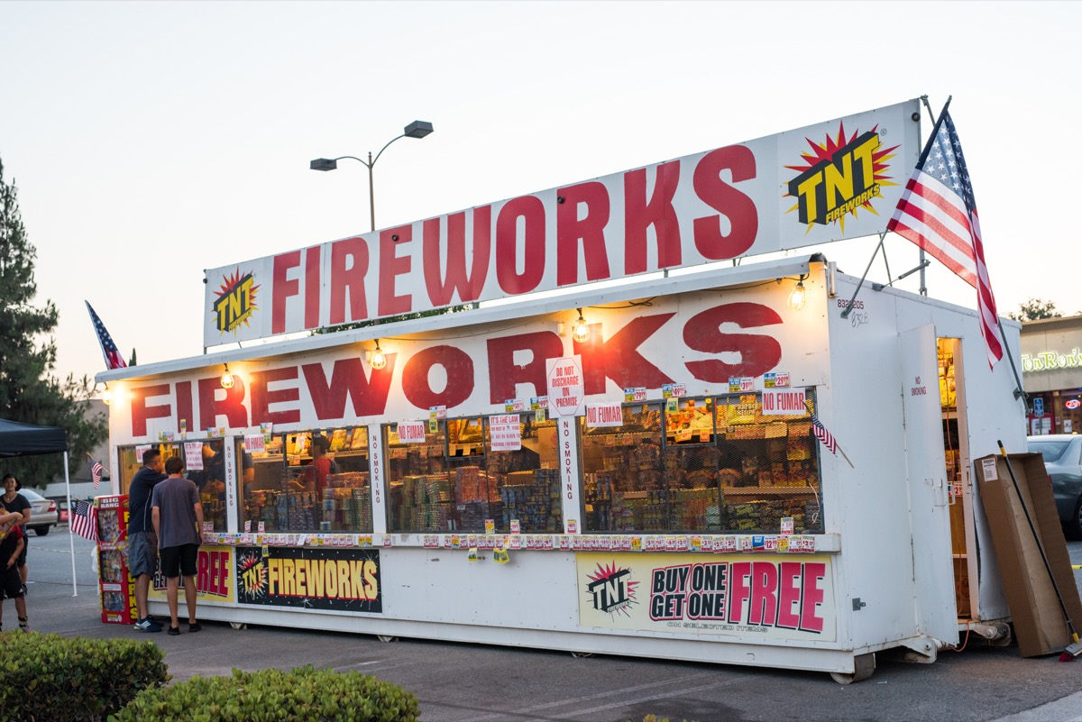 Alhambra, CA: 6/29/2016 TNT Fireworks pop-up store in a strip mall parking lot. Founding Father John Adams wrote a letter to his wife Abigail suggesting fireworks as a way to celebrate independence.