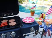 Gas grill by the swimming pool, ready to bbq