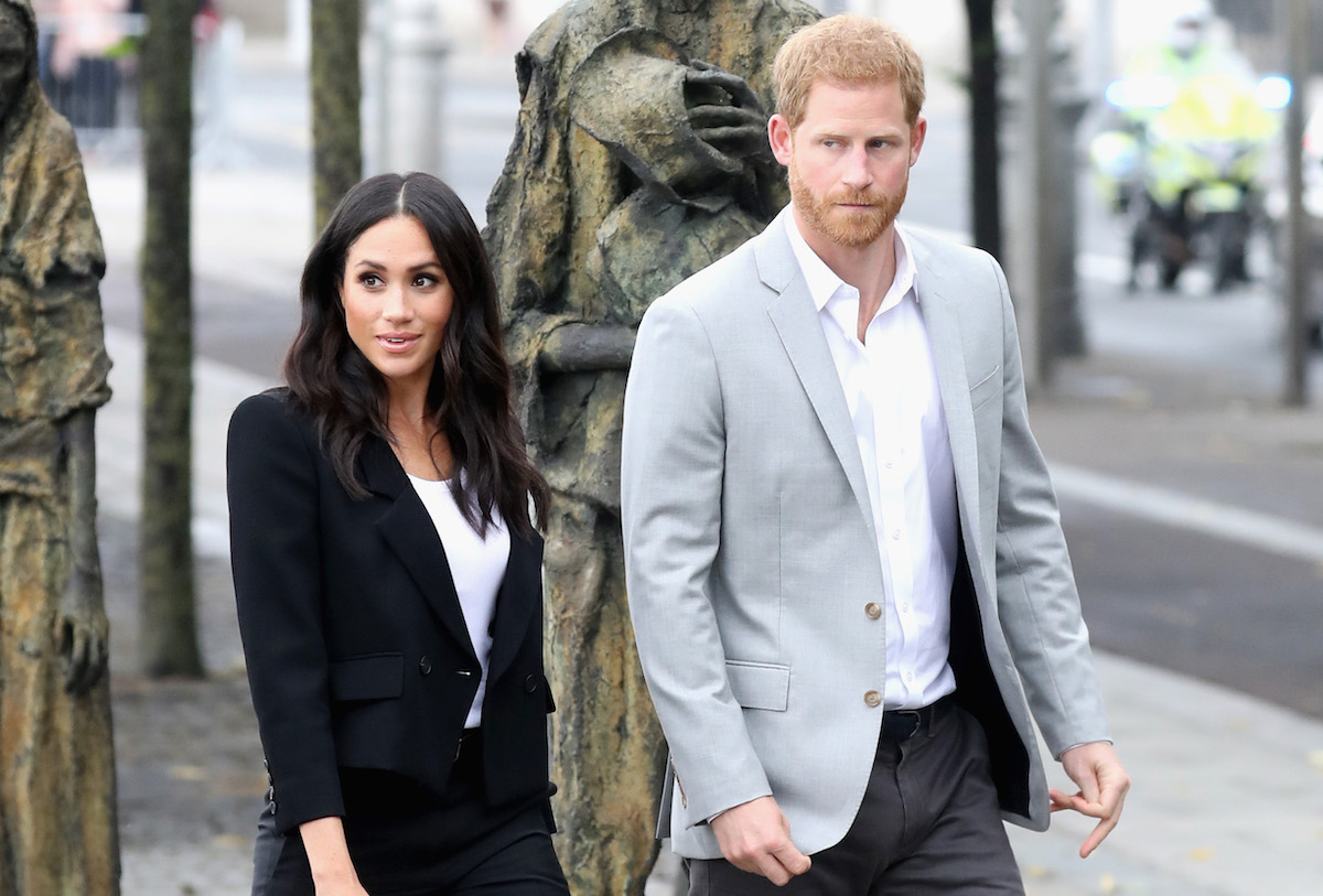 Prince Harry, Duke of Sussex and Meghan, Duchess of Sussex view the famine memorial on the bank of the River Liffey during their visit to Ireland on July 11, 2018 in Dublin, Ireland.