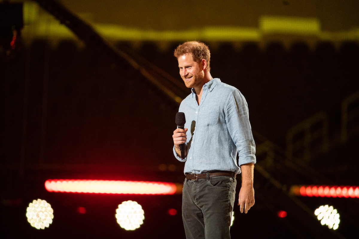 Prince Harry gives remarks at the Vax Live concert at SoFi Stadium on Sunday, May 2, 2021 in Inglewood, CA.