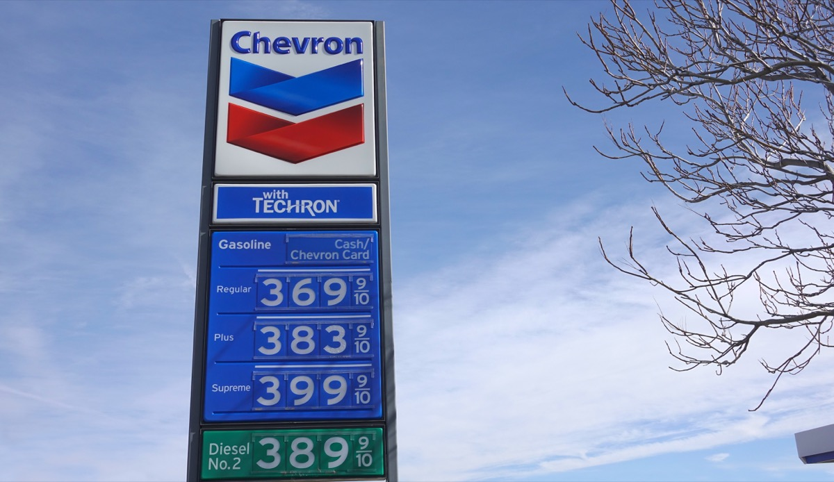 Sign with gas prices posted at a Chevron station. California has some of the highest fuel prices in the nation. Photo taken in Anza, CA / USA on January 16, 2020