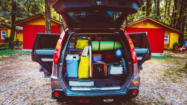 honda crv with packed trunk at camping site