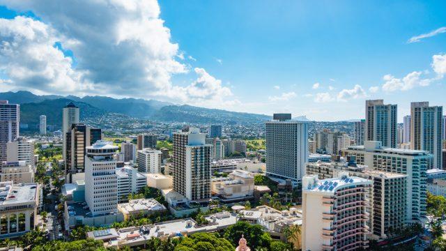 Skyline of Honolulu, Hawaii, looking inland