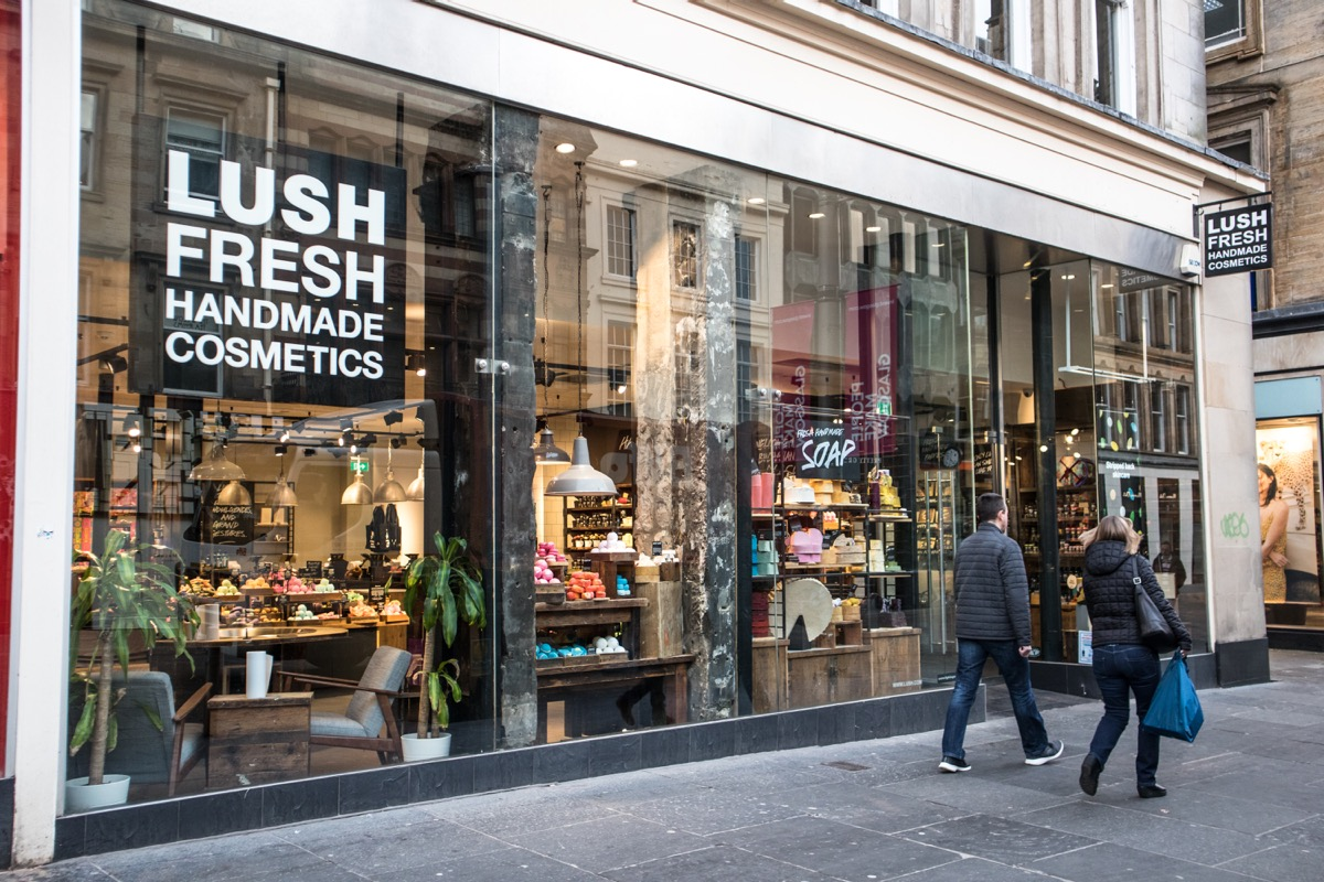 Glasgow / Great Britain - February 23, 2019: Exterior entrance to Lush handmade cosmetics store showing logo and branding