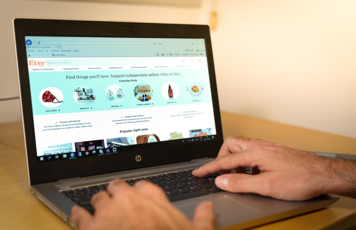 Barcelona, Spain. November 2020: Etsy popular web page displayed on a modern laptop.