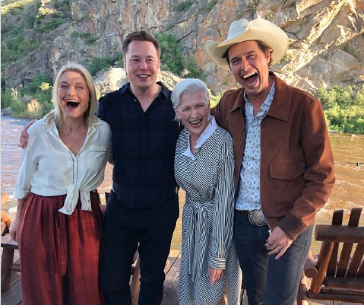 Maye musk laughs with her three children