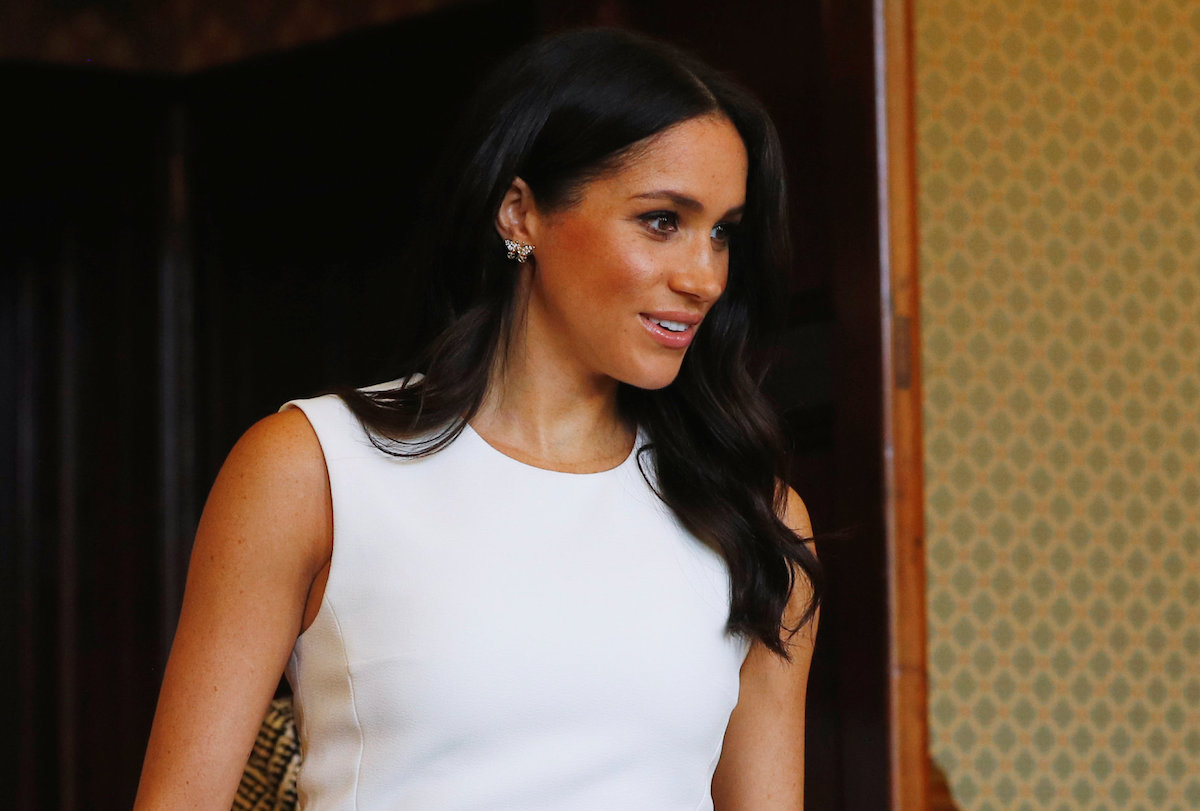 Meghan, Duchess of Sussex wearing Diana's butterfly earrings attends a Welcome Event at Admiralty House on October 16, 2018 in Sydney, Australia. The Duke and Duchess of Sussex are on their official 16-day Autumn tour visiting cities in Australia, Fiji, Tonga and New Zealand.