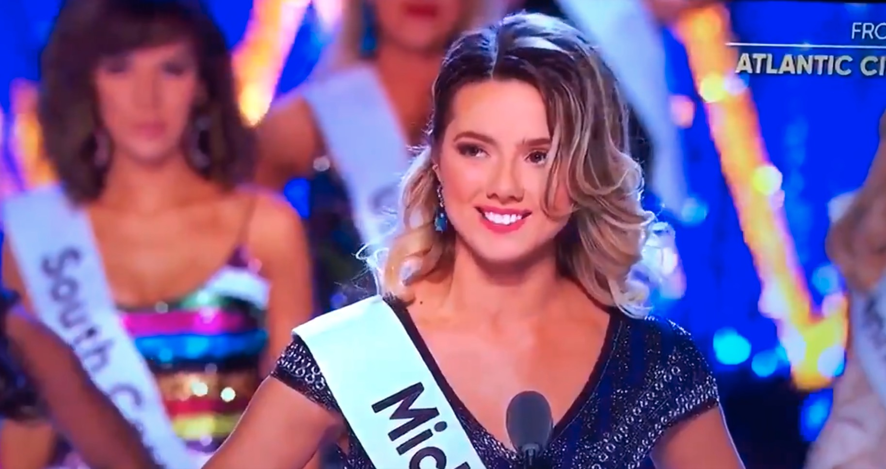 Miss Michigan Emily Sioma competing in the 2018 Miss America pageant
