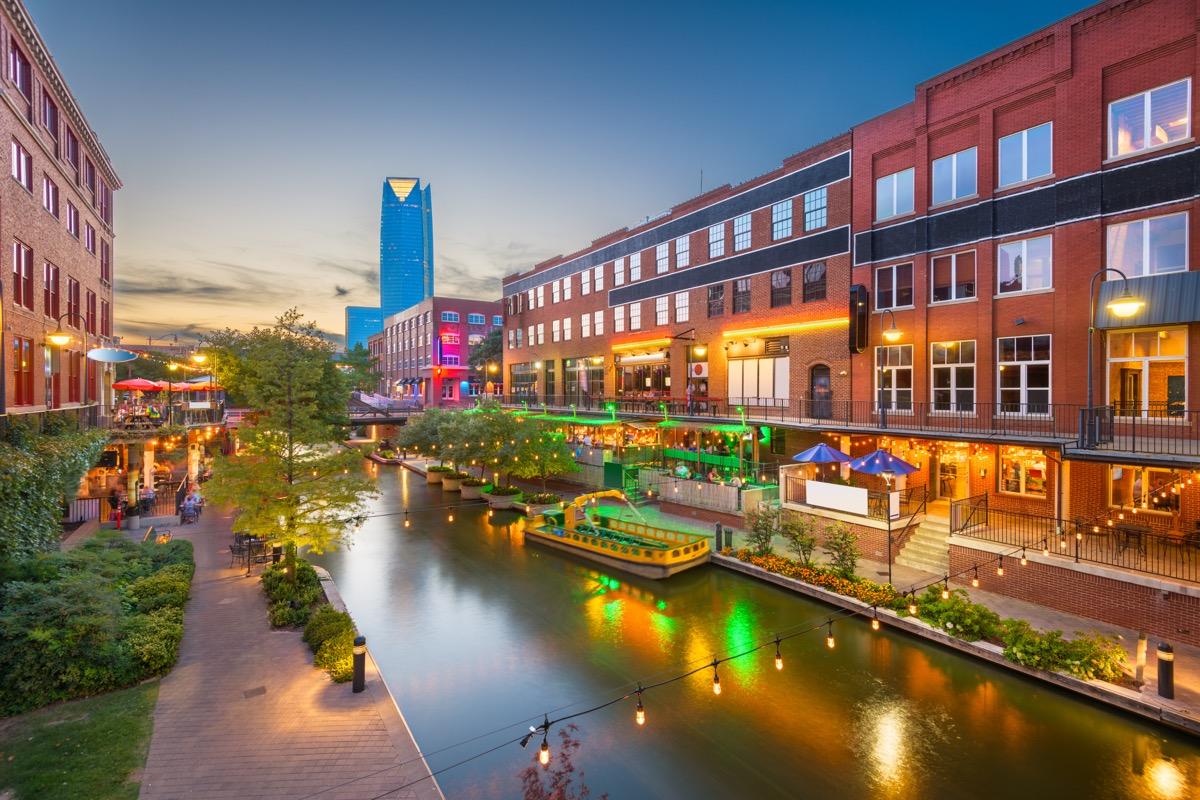 bricktown in oklahoma city, river,