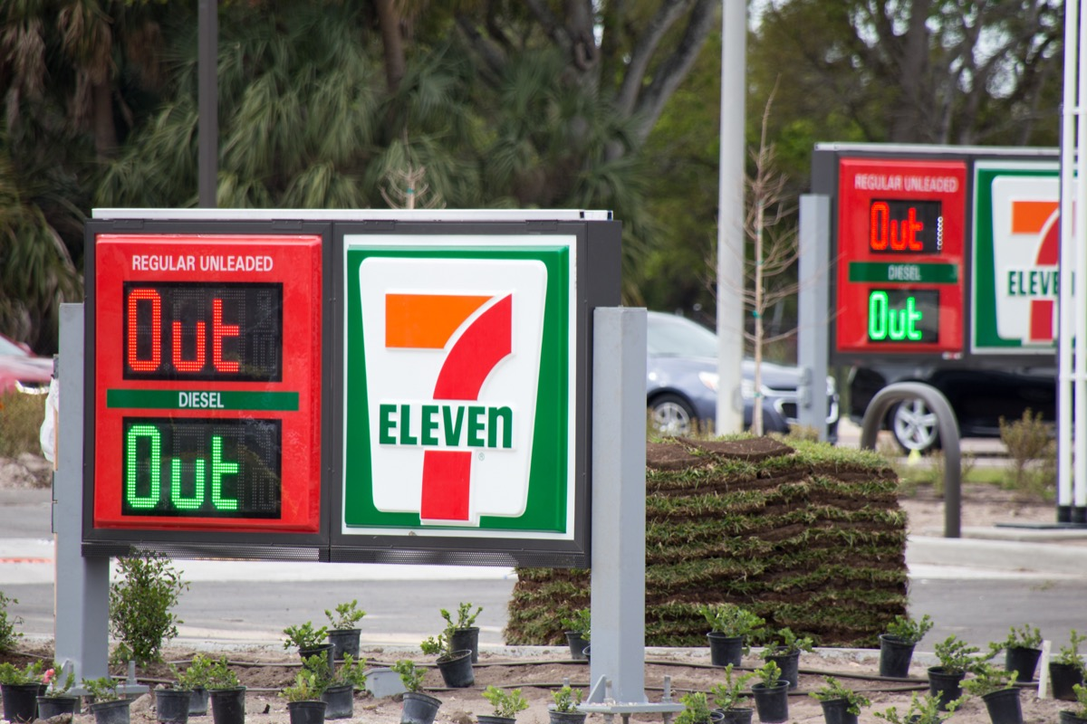 """Florida, USA - Circa 2021: A gas station sign says """"Out"""" because its tanks are empty. Amid the Colonial Pipeline Co. cyber attack and shutdown, the U.S. faces gasoline shortages and high gas prices."""