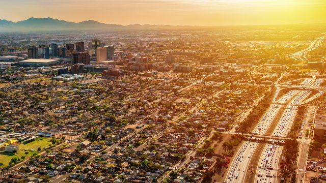 An aerial shot of Phoenix, Arizona at dusk