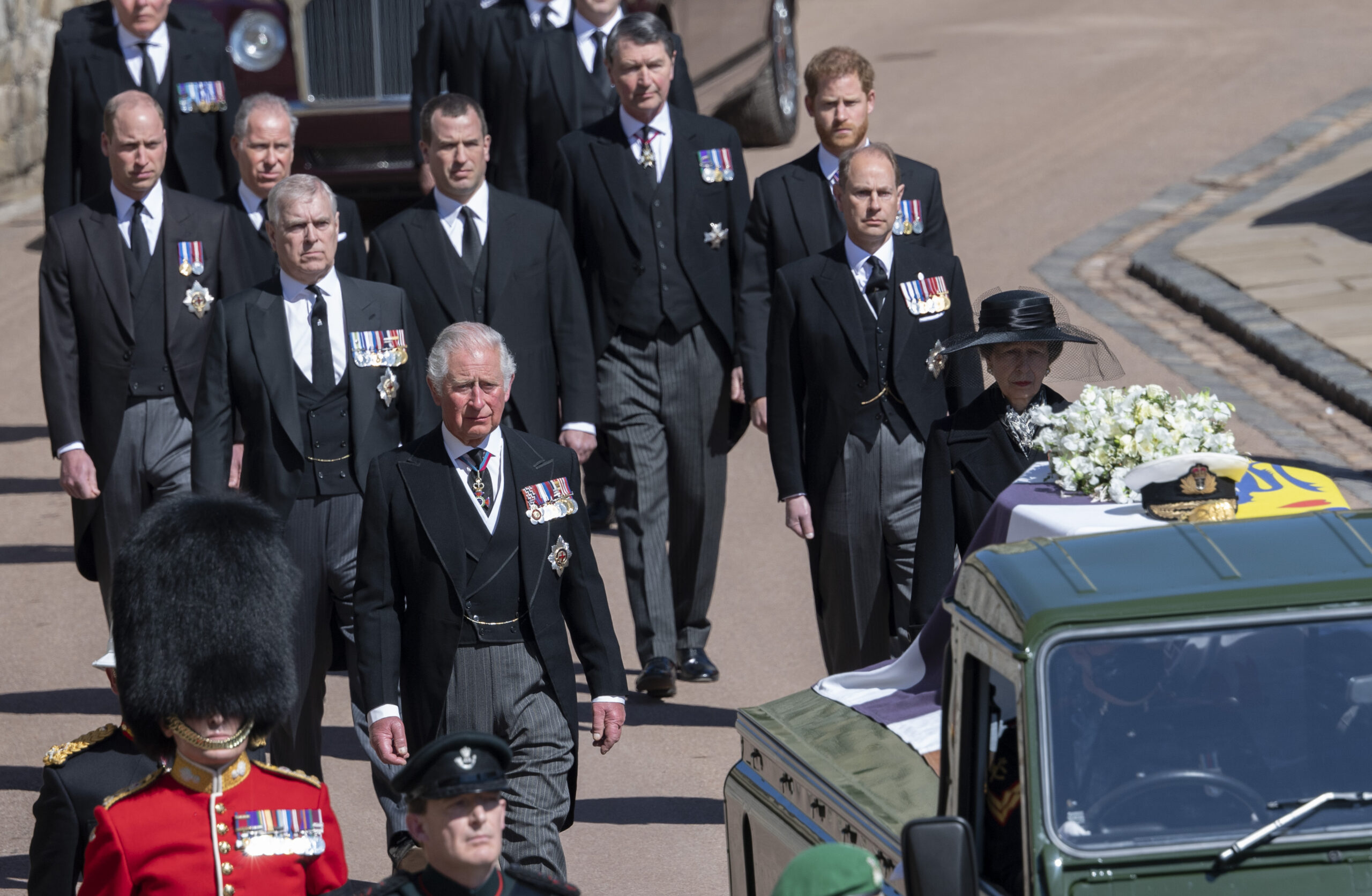 Prince Charles, Prince of Wales; Prince William, Duke of Cambridge; Prince Harry, Duke of Sussex; and others during the funeral of Prince Philip, Duke of Edinburgh on April 17, 2021 in Windsor, England.