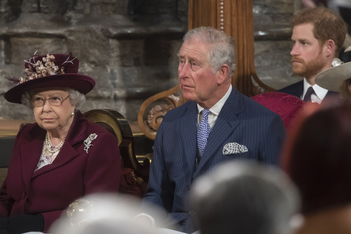 Her Majesty The Queen, Head of the Commonwealth, accompanied by The Prince of Wales and Prince Harry
