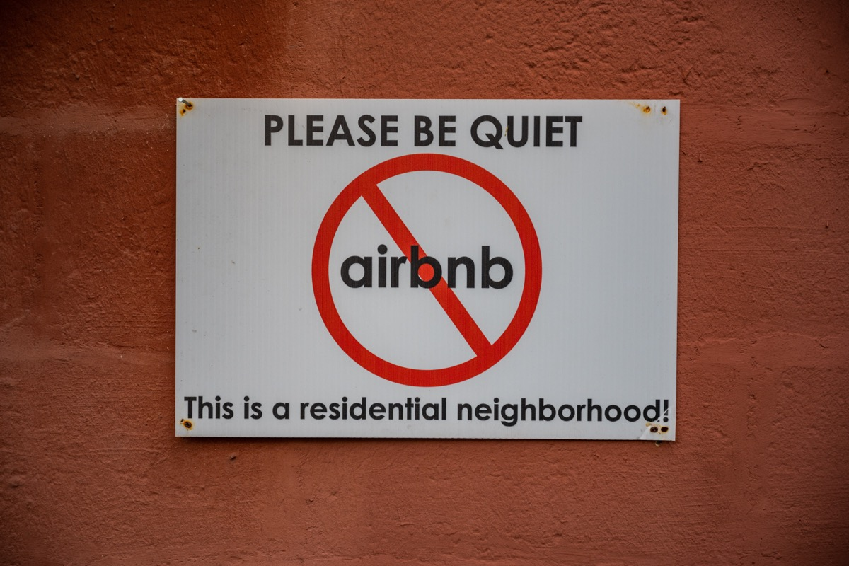 New Orleans, United States: March 1, 2020: Anti AirBnB sign petitions against rental traffic and noise