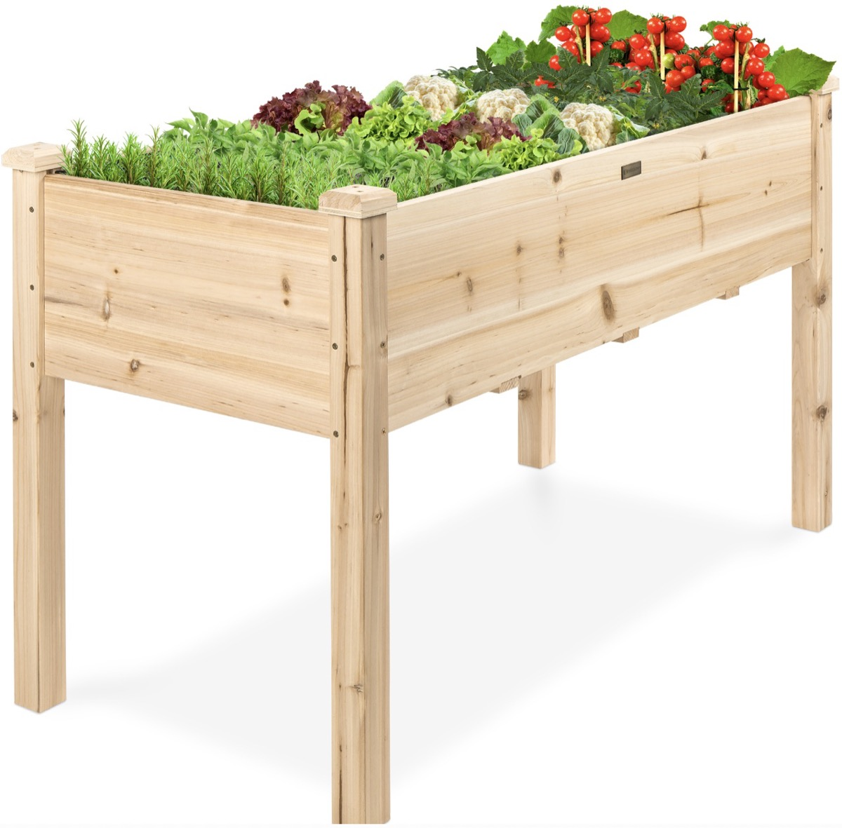 unpainted wood raised planter